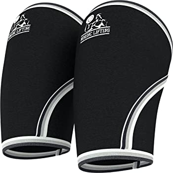 Nordic Lifting Elbow Sleeves (1 Pair) Support & Compression for Weightlifting, Powerlifting,Cross Training & Tennis -5mm Neoprene Sleeve for The Best Performance -Both Women & Men-by 1 Year Warranty