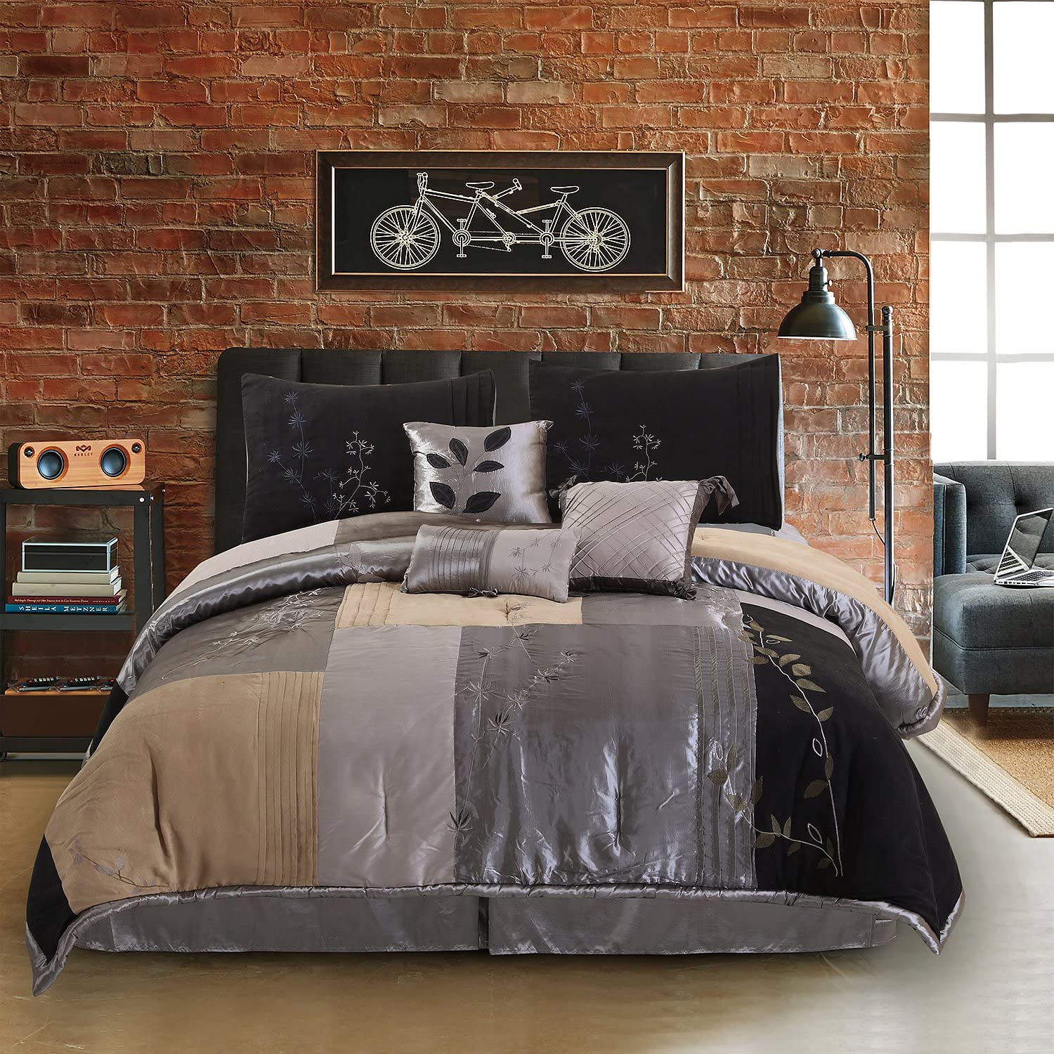 Hudson Street Back to Nature Queen Bed Set, Charcoal