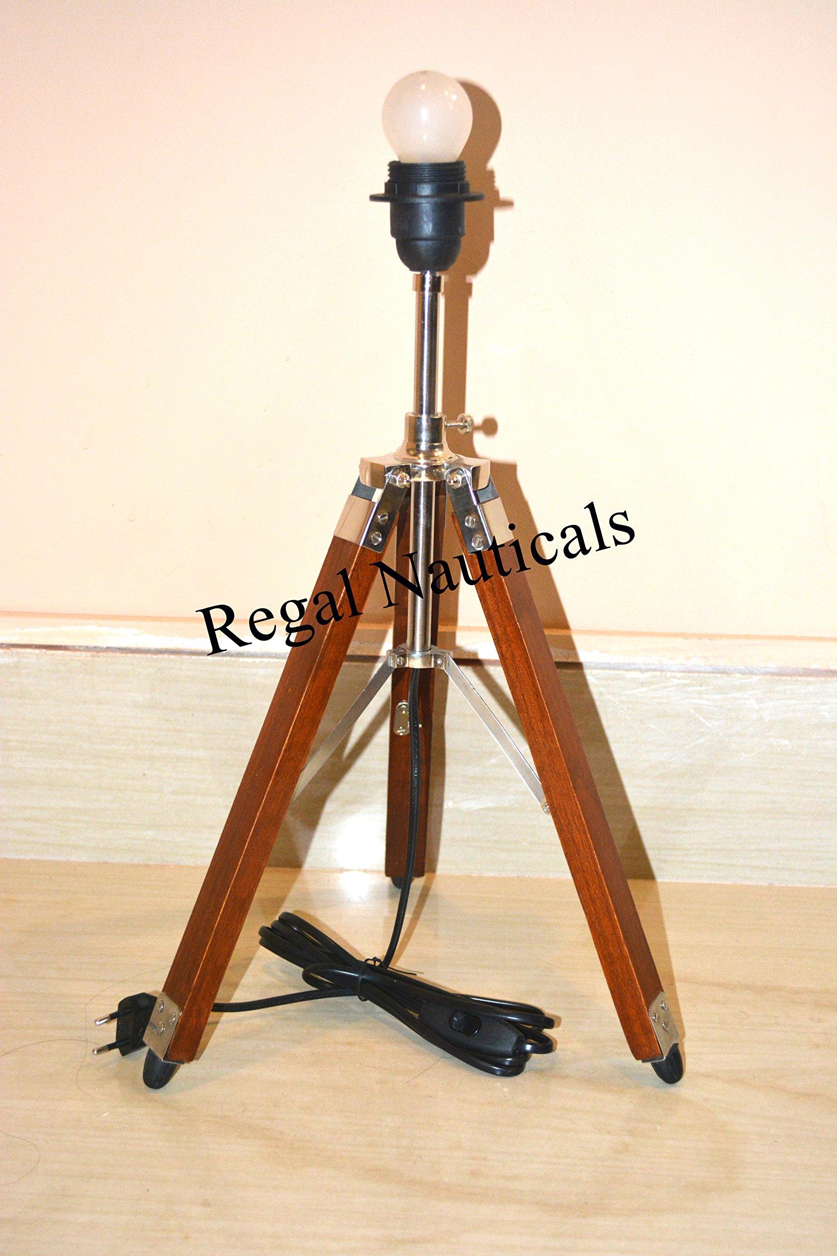 MODERN WOOD LAMPSHADE TRIPOD STAND ROYAL DESIGNER NAUTICAL TRIPOD TABLE LAMP