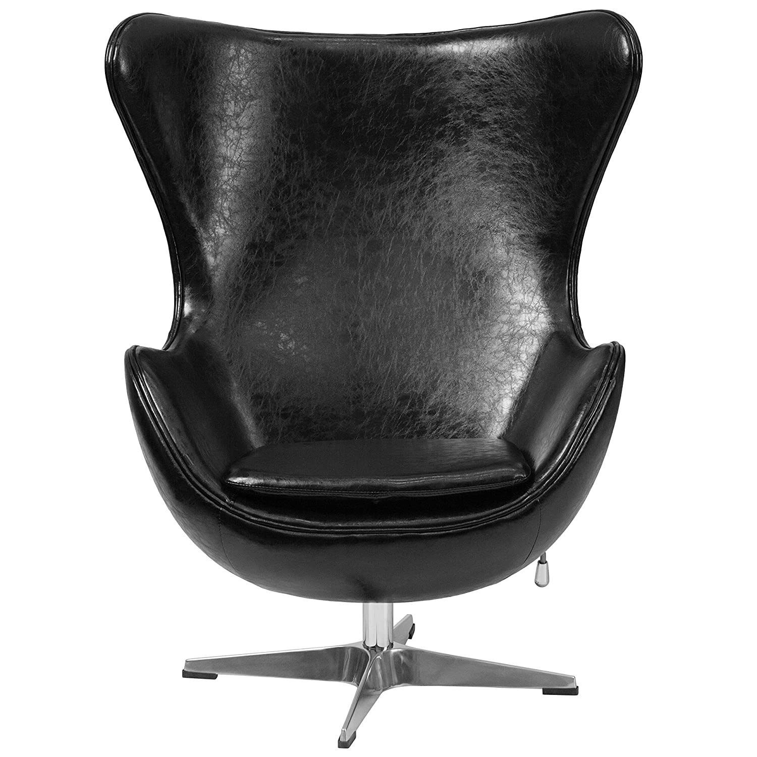 "Amazon Black Leather Egg Chair ""Vela"" Retro Lounge Chairs"