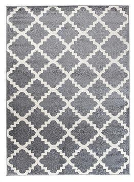 Grand - XXL - Tapis de Salon Chambre - Gris Blanc - Motif Oriental avec Un  Design Contemporain - Moderne - Géométrique - Treillis Marocain ...
