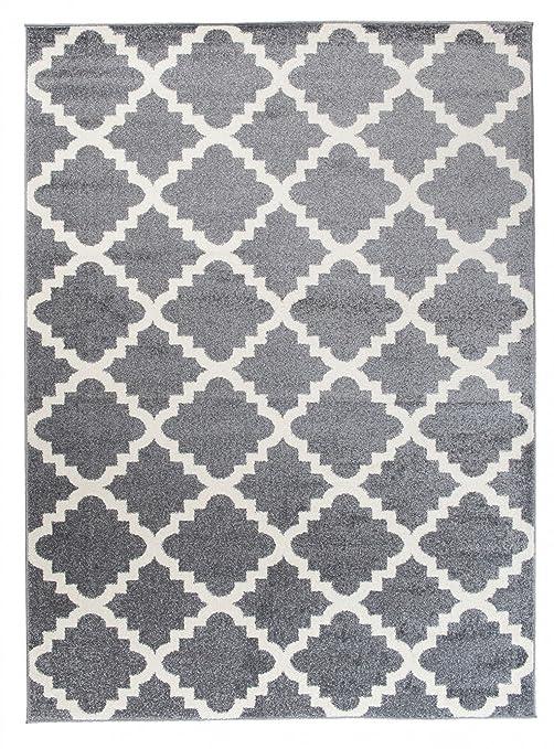 Grand - XXL - Tapis de Salon Chambre - Gris Blanc - Motif Oriental avec Un  Design Contemporain - Moderne - Géométrique - Treillis Marocain -Casablanca  ...
