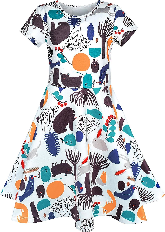 Sunny Fashion Vestito Bambina Albero Uccello Orso Cartoon Manica Corta 4-10 Anni