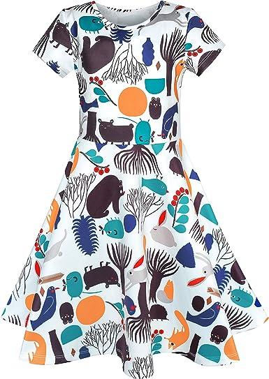 Sunny Fashion Girls Dress Cartoon Cat Short Sleeve Dress Size 4-10