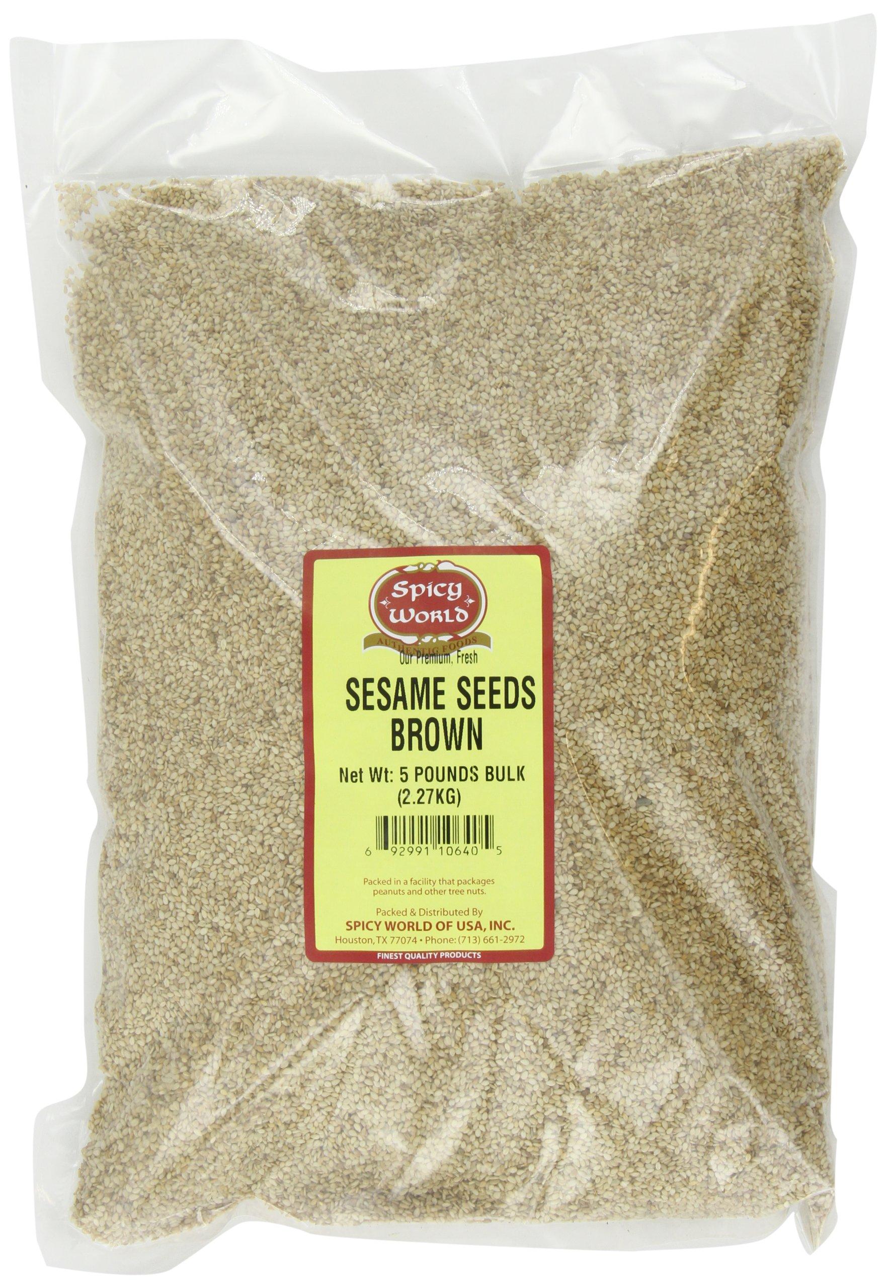 Spicy World Brown Sesame Seeds (Natural) Bulk, 5-Pounds