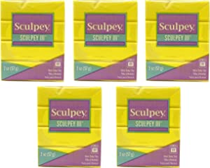 Sculpey Polyform Sculpey III Polymer Clay 2 Ounces Yellow S302-072 (5-Pack)