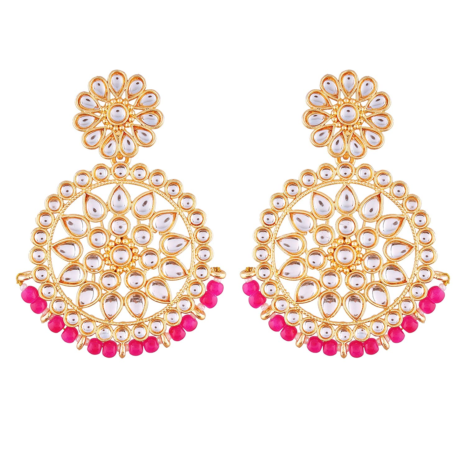 I Jewels Gold Plated Kundan Chandbali Earrings for Women (E2462Q)