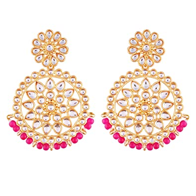 Buy I Jewels Gold Plated Kundan Chandbali Earrings For Women E2462q
