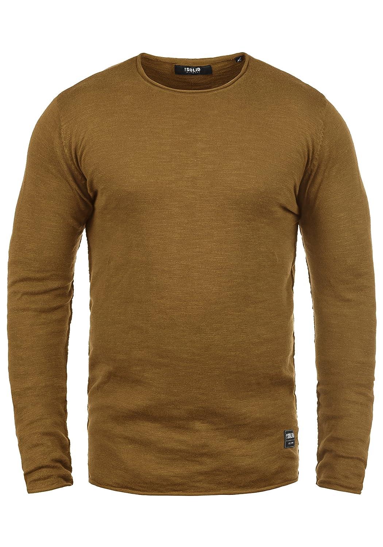 !Solid Krimmich Maglione Pullover Maglieria da Uomo con Girocollo in Cotone 100/%