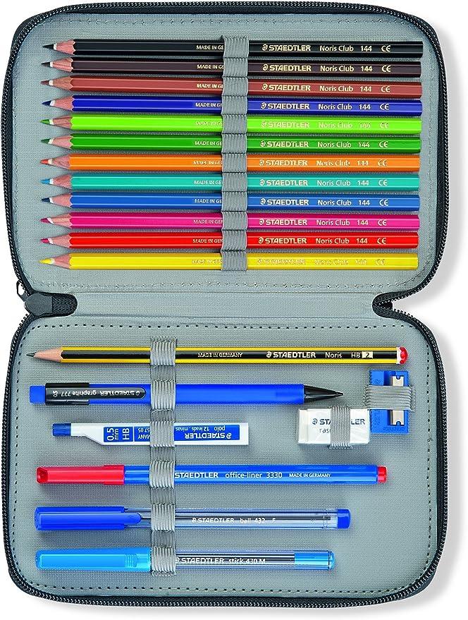 Staedtler 61 SET17-0 - Estuche de dos pisos smiley de tela (contiene 10 rotuladores, 12 lápices de colores y accesorios para escribir y dibujar) color blanco, 1 unidad: Amazon.es: Oficina y papelería