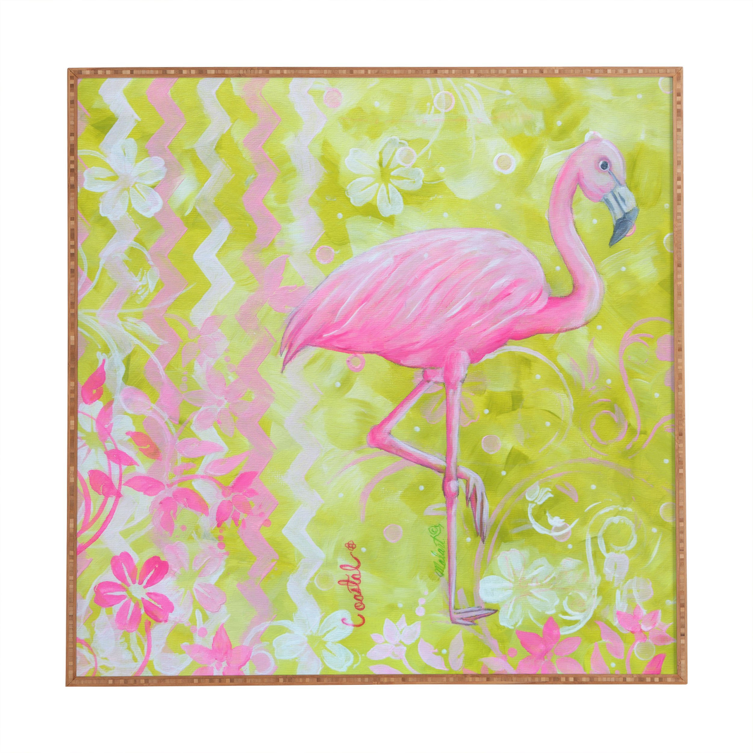 Deny Designs Madart Inc.,  Flamingo Dance, Framed Wall Art, Large, 30'' x 30''
