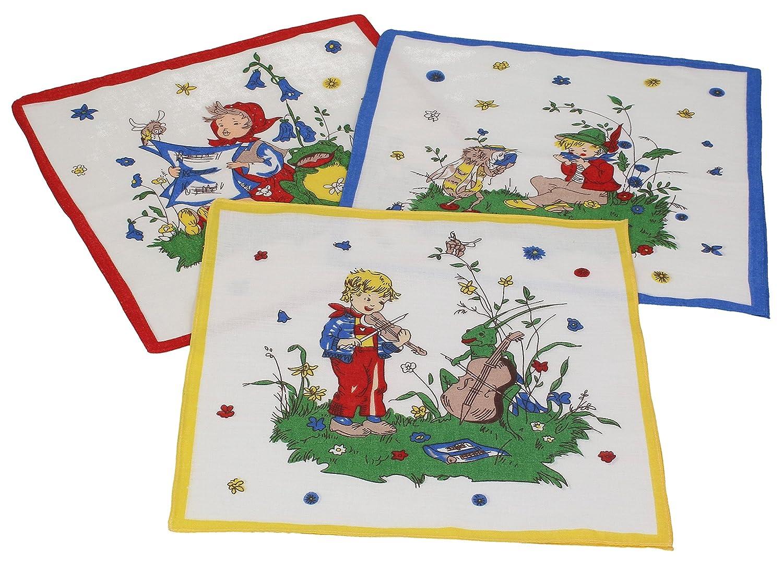Betz. Set di 12 fazzoletti per bambini al motivo fiabesco, misure 26 x 26 cm, 100 % cotone, design 5