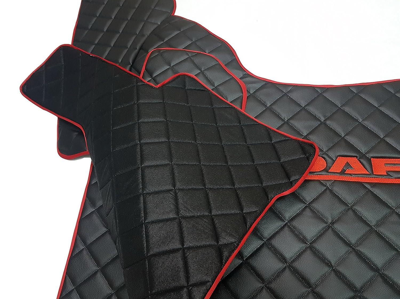 Unbekannt Set mano sinistra Drive Tappetini Tappeto Truck Accessori decoro nero rosso eco pelle