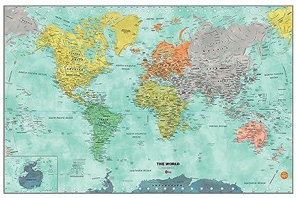 WallPops WPE1761 Aquarelle World Map Dry Erase Multicolor - - Amazon.com