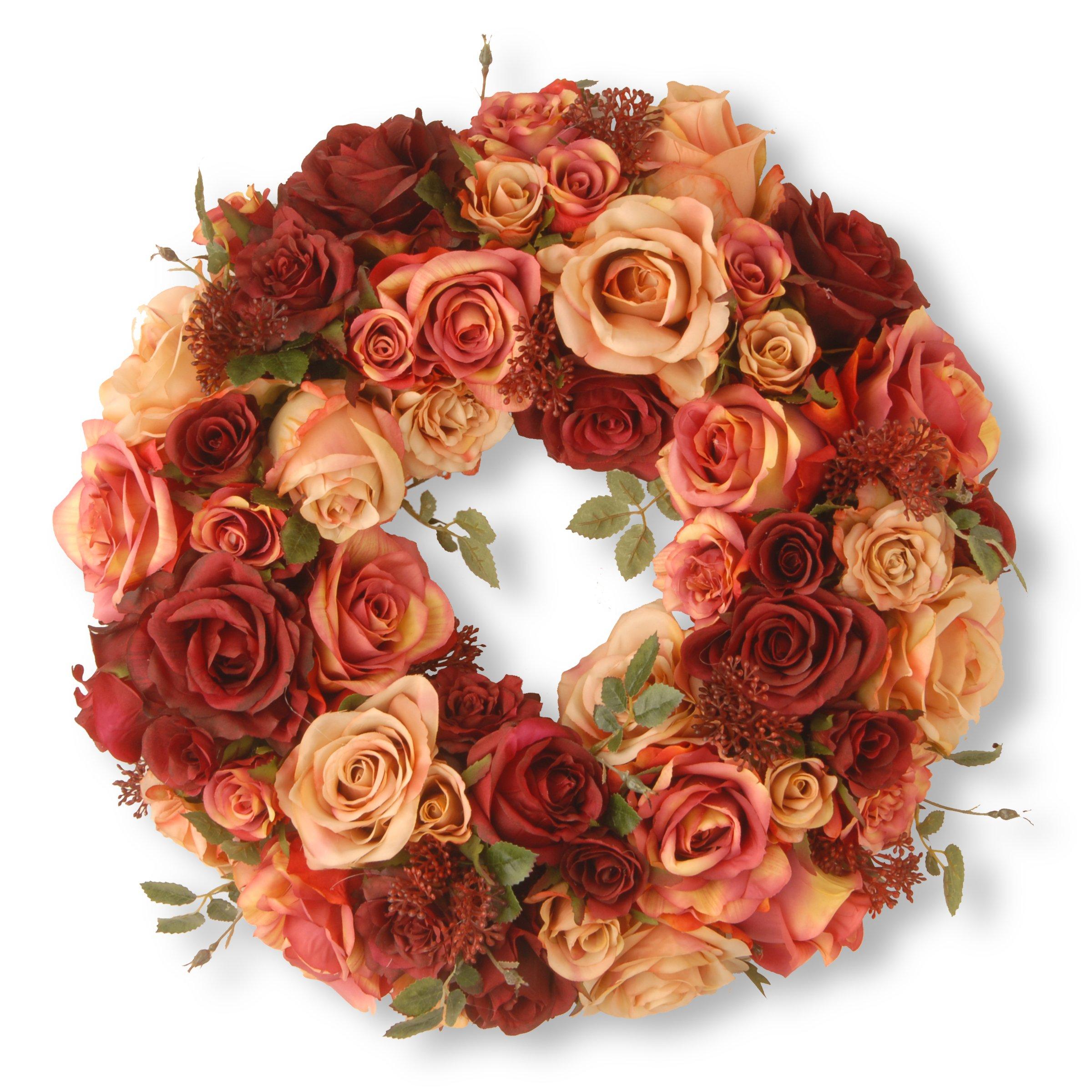National Tree 15.5 Inch Mixed Roses and Skimmia Wreath (RAV-WL80693-1)