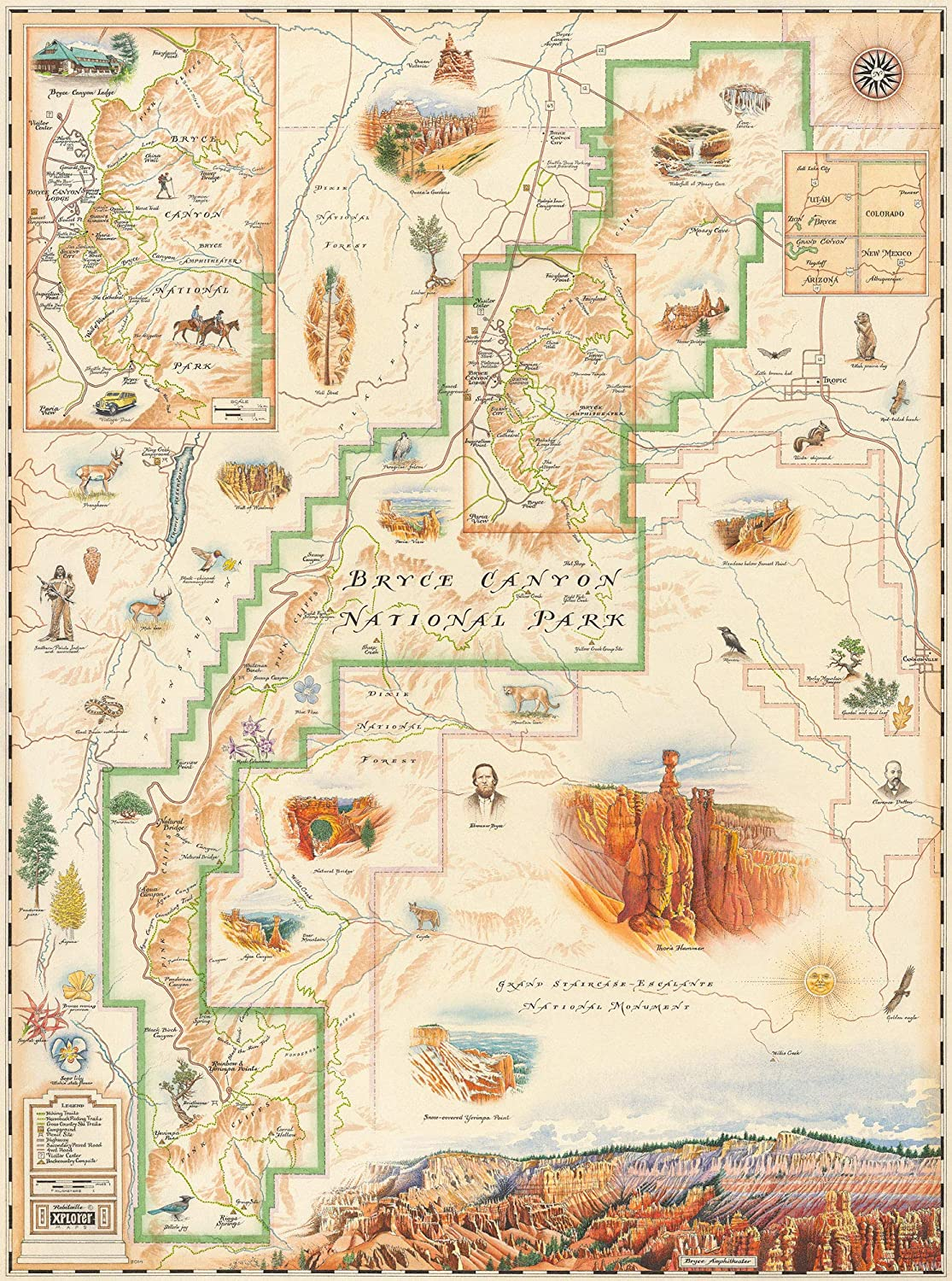 National Parks In New Mexico Map.Amazon Com Bryce Canyon National Park Map Authentic Hand Drawn