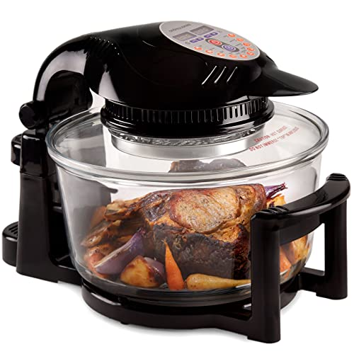 Andrew James Halogen Oven 12 Litre with Hinged Lid & Accessories Pack - 1400W 240V Self-Cleaning Digital Oven with 2 Hour Timer & Adjustable Temperature Dial