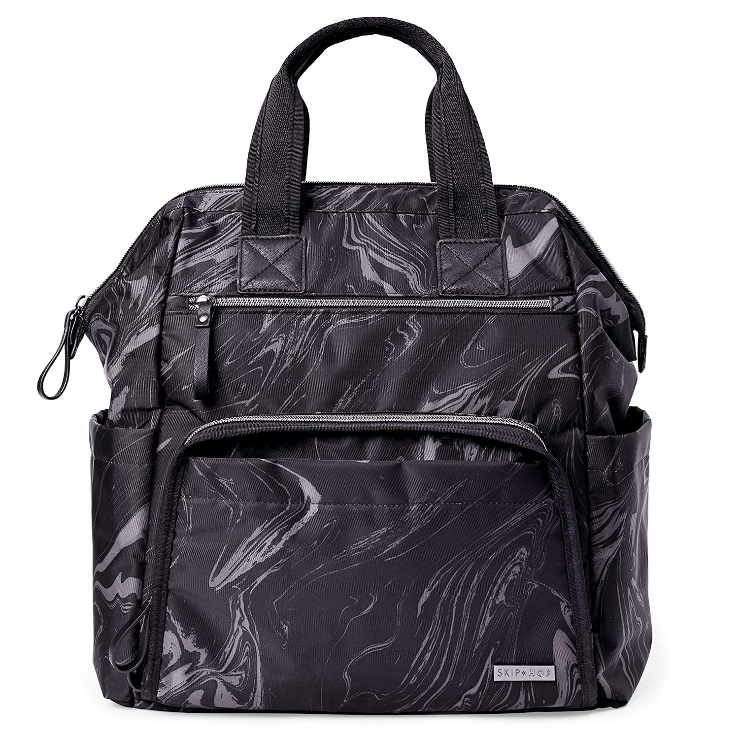 Skip Hop Diaper Bag Backpack: Mainframe Large Capacity Wide Open Structure with Changing Pad & Stroller Attachement, Black Marble
