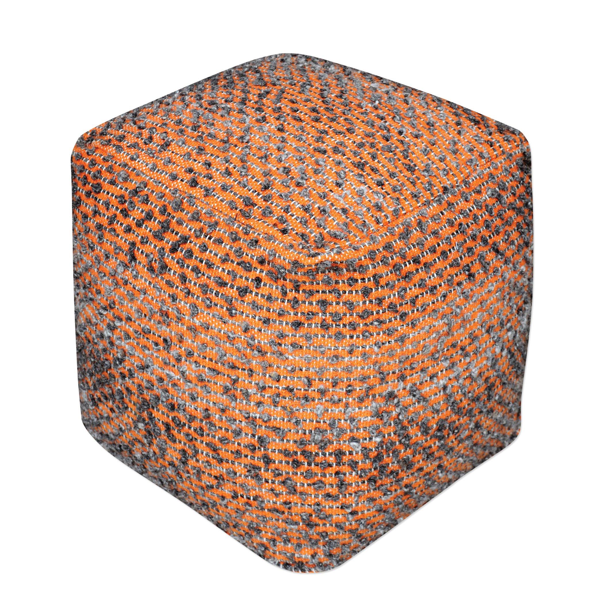 Orange Sunset Cotton Cube Pouf | Plush Ottoman Fabric Rust Seat Square Wool