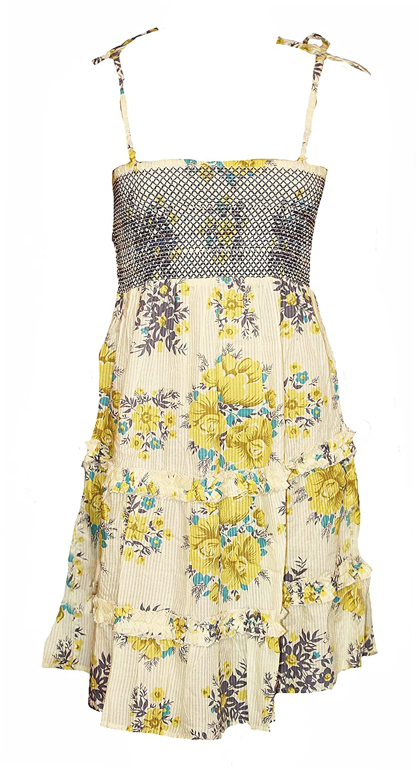 002dda11d20 Floral Elasticated Bodice Strappy Summer Dress. Sizes 6-12  Amazon.co.uk   Clothing