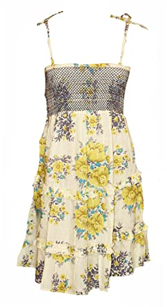d88a326c1a7f Floral Elasticated Bodice Strappy Summer Dress. Sizes 6-12: Amazon.co.uk:  Clothing