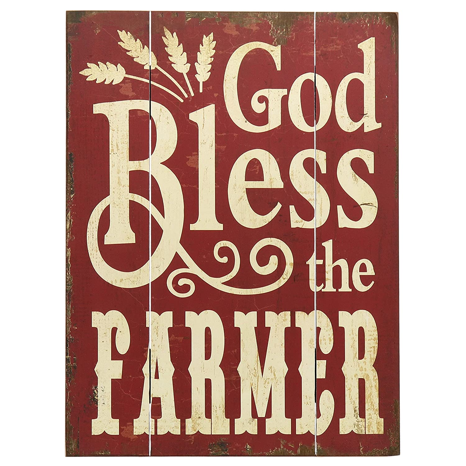 "Barnyard Designs God Bless The Farmer Retro Vintage Wood Plaque Bar Sign Country Home Decor 15.75"" x 11.75"""