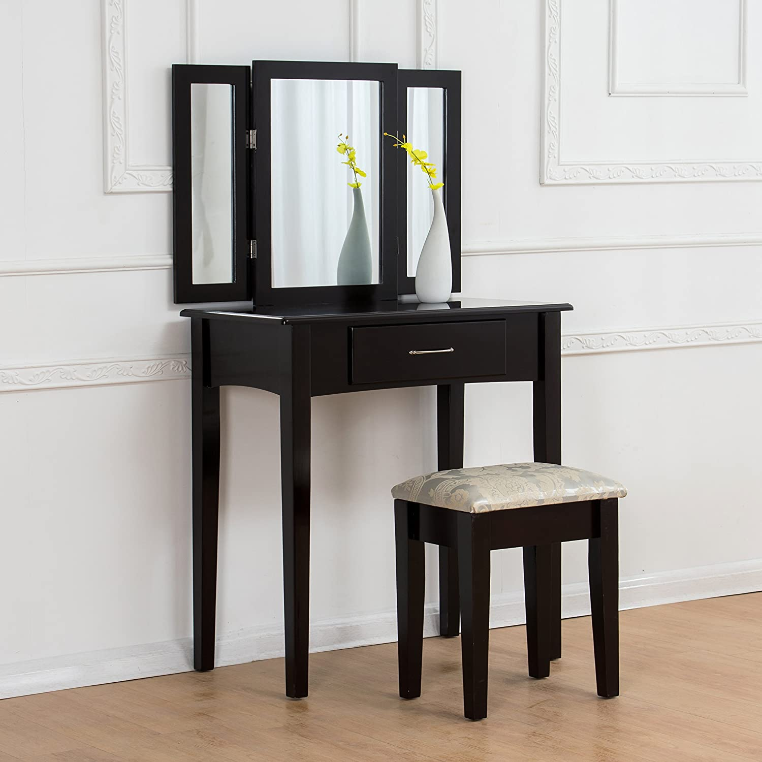 CherryTree Furniture Dressing Table 3 Way Mirrors Triple Mirror Makeup Dresser Set with Stool (Black) Cherry Tree Furniture