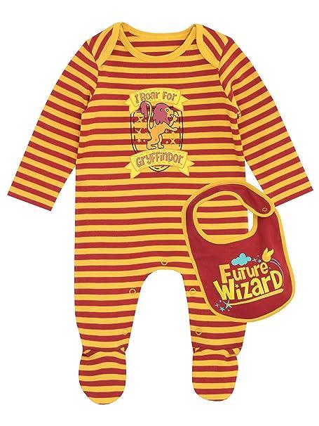 Harry Potter - Pijama Entera con babero para Niños Bebés - Gryffindor - 0 - 3