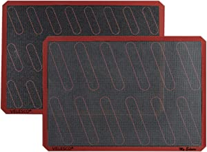 """Silicone Eclair Baking Mat - Set of 2 Half Sheet 11 5/8"""" x 16 1/2"""" - Non Stick Micro Perforated Silicon Liner by Velesco"""