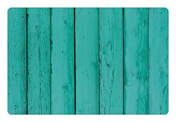 Mint Pet Mats For Food And Water By Lunarable Old Wooden Rustic Oak Plank Background