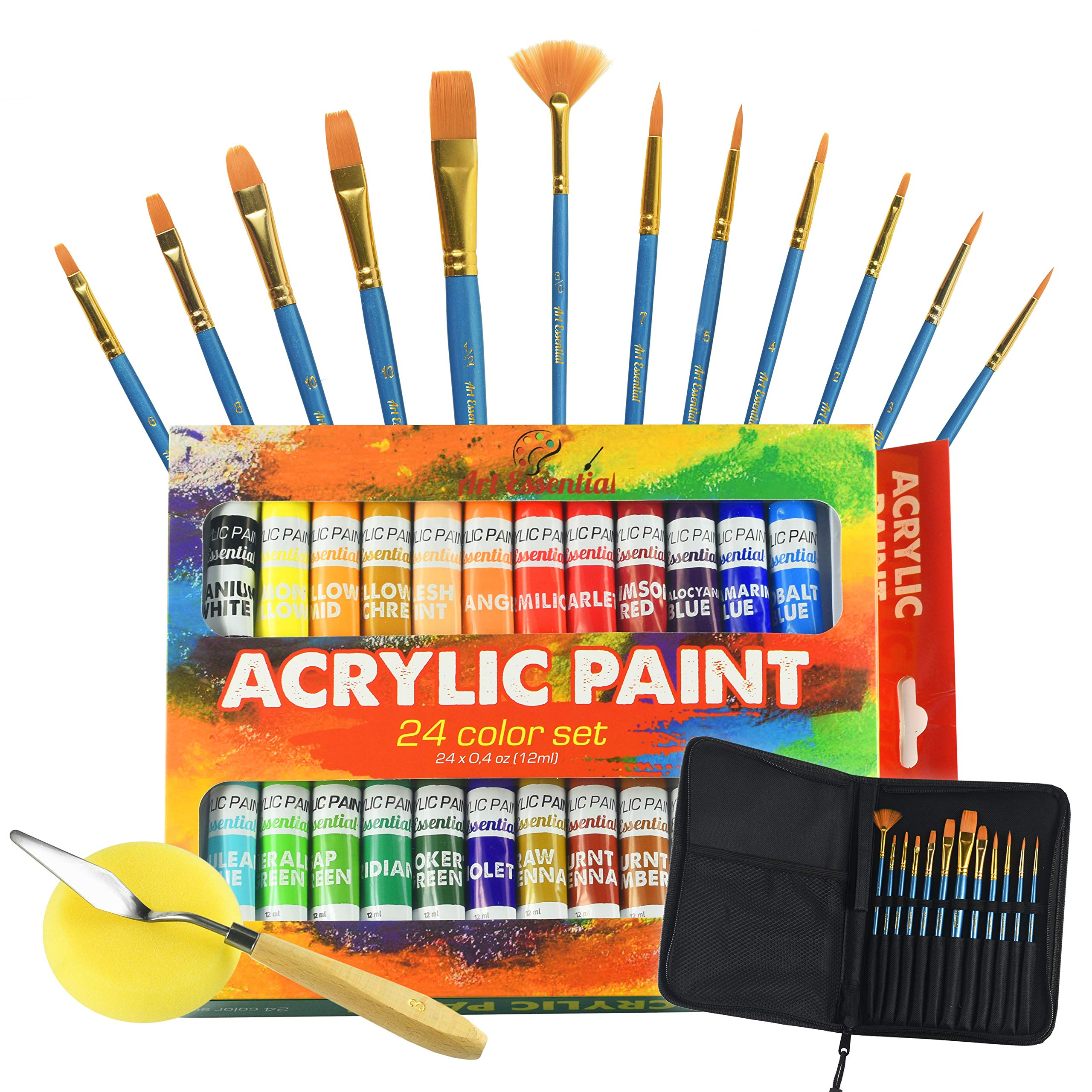Upgraded Acrylic Paint Set - High-End Arts & Crafts Painting Supplies for Kids and Adults - 24 Stunning Pigments, 10 Professional Paint Brushes & Carrying Case + Extra Bonus: Palette Knife with Sponge by Art Essential