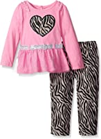Young Hearts Little Girls' 2 Piece Long Sleeve Shirt With Belt and Pant Set