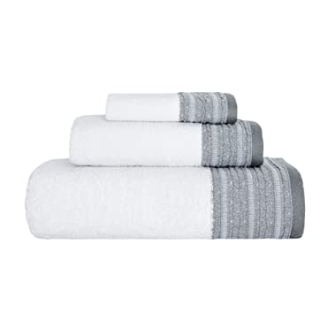 Garen 3-Piece Turkish Cotton Towel Set With Decorative Dobby - Ultra Soft Texture With Premium Absorbency - Perfect For Daily Use Or Home Decor (600 GSM) (Twilight Gray)