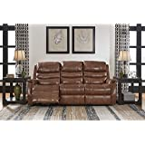 Ashley Furniture Signature Design -Metcalf Recliner Sofa - Power Reclining Couch - Contemporary Style - Nutmeg