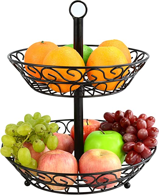Lily\'s Home Wire Fruit and Vegetable Holder, 3-Tiered Fruit Basket, Kitchen  Accessories - Black