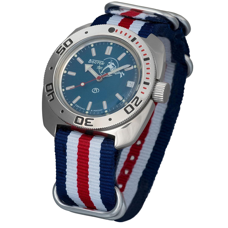 Amazon.com: Vostok Amphibian Scuba Dude Automatic Mens WristWatch Self-winding Military Diver Amphibia Ministry Case Wrist Watch #710059 (tricolor): Watches