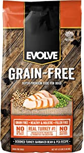 Evolve Super Premium Grain Free Dog Food Diets Deboned Turkey, Garbanzo Bean, & Pea
