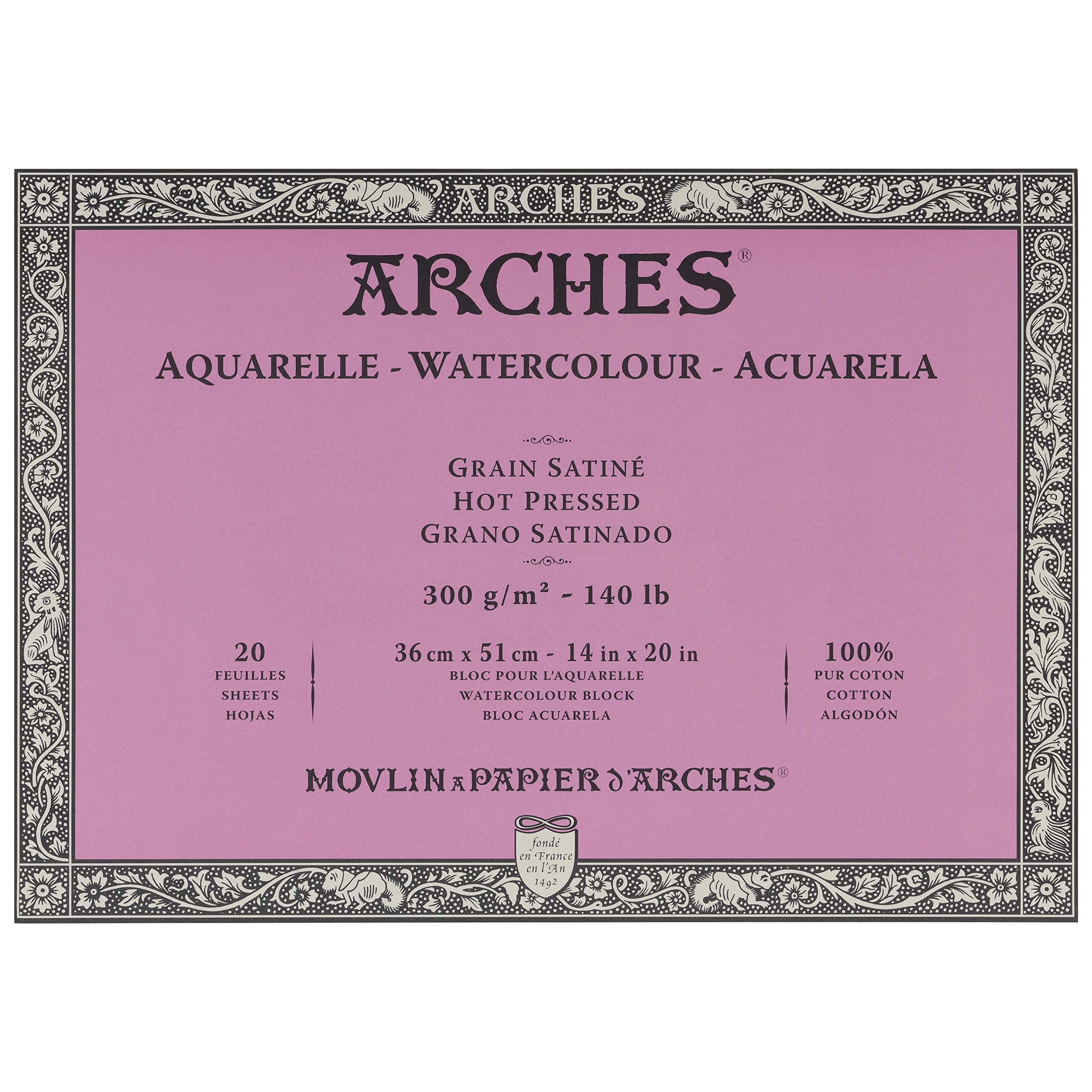 Arches Watercolor Paper Block - Hot Press 140lb - 18x24 - with 4-Pack Upsyde Angle Lifts by Jerrys Artarama