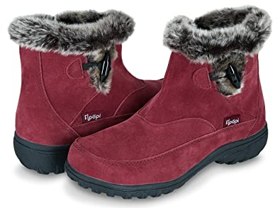 Floopi Womens All Weather Cold Resistant Insole Fur Lined Zipper Ankle Boots  W Memory Foam b389fe838ff1