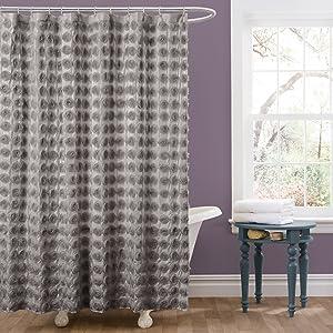 Lush Decor Emma Shower Curtain, 72 by 72-Inch, Gray