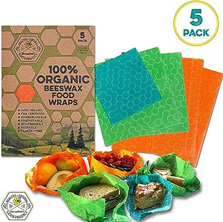 HoneyBella Organic Beeswax Food Wrap - 5 Pack