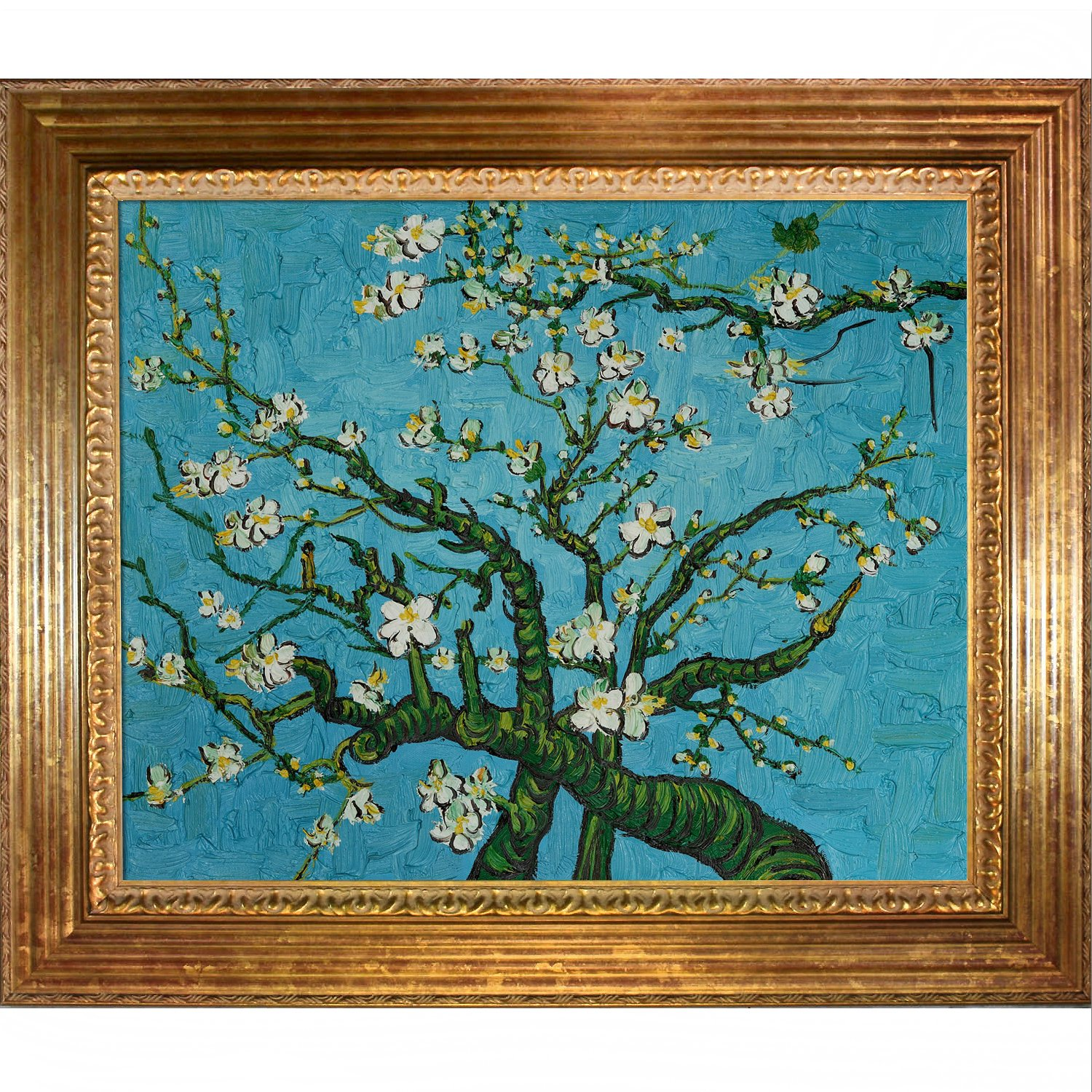 overstockArt Van Gogh Branches of An Almond Tree in Blossom with Vienna Wood Frame in Gold Leaf Finish
