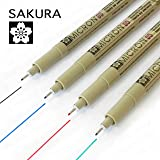 Sakura Pigma Micron - Pigment Fineliners - Pack of 4 - 0.5mm - Black, Blue, Red, and Green