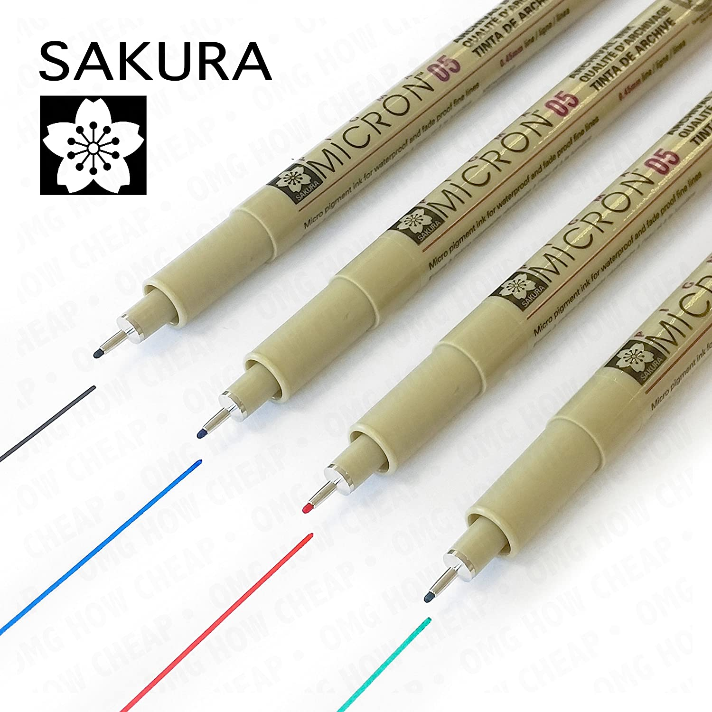 Pigma Micron Sakura-Eduplay-Set di 10 pennarellini a punta fine, 0,5 mm, colore: nero, Blu, Rosso, Verde OP-4052