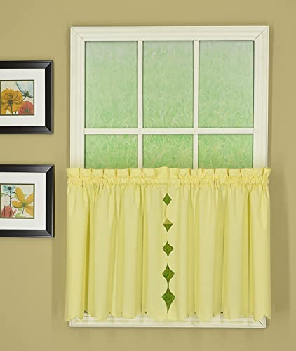 Today s Curtain Orleans 24 Tier Pair Tambour Scallop Edge Curtain, Buttercup, 60 W X L