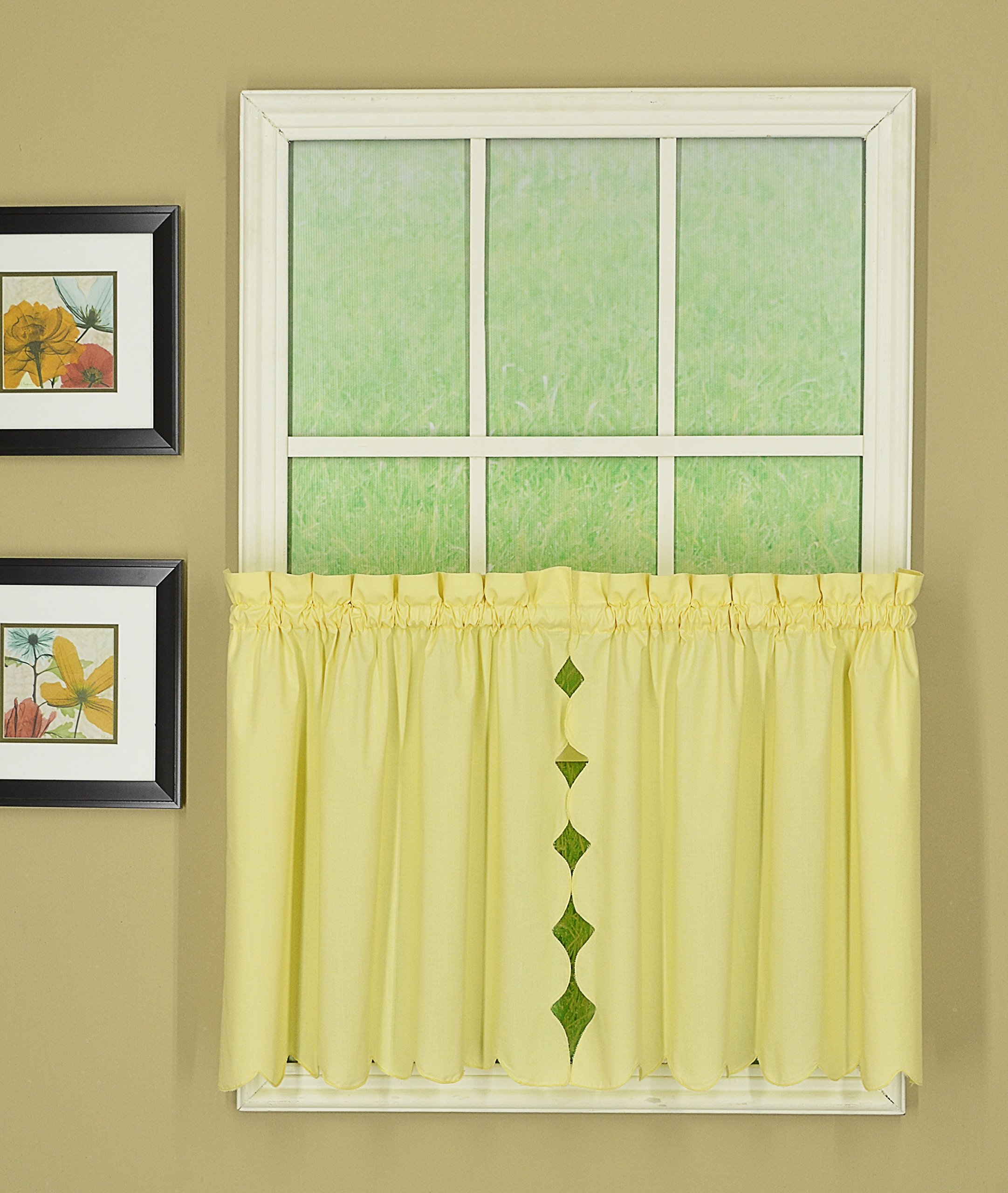 Today's Curtain CA2003K Orleans 24'' Tier Pair Tambour Scallop Edge Curtain, Buttercup, 60'' W x 24'' L