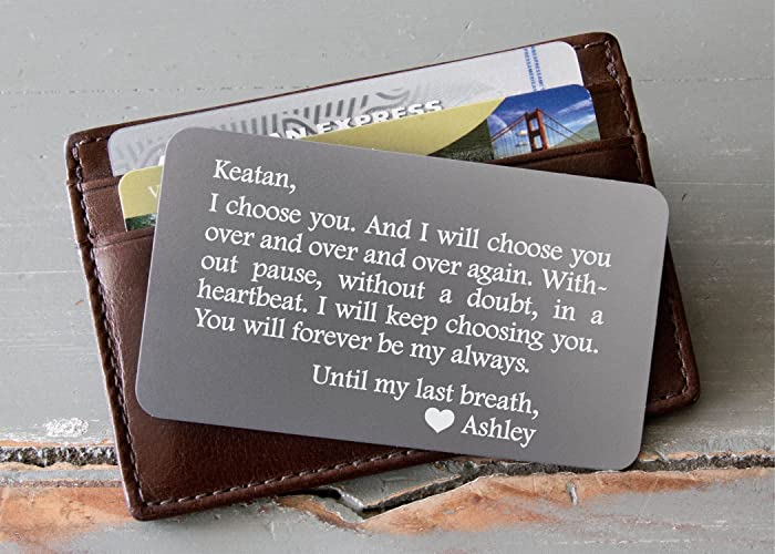 amazon com personalized wallet card custom engraved wallet insert