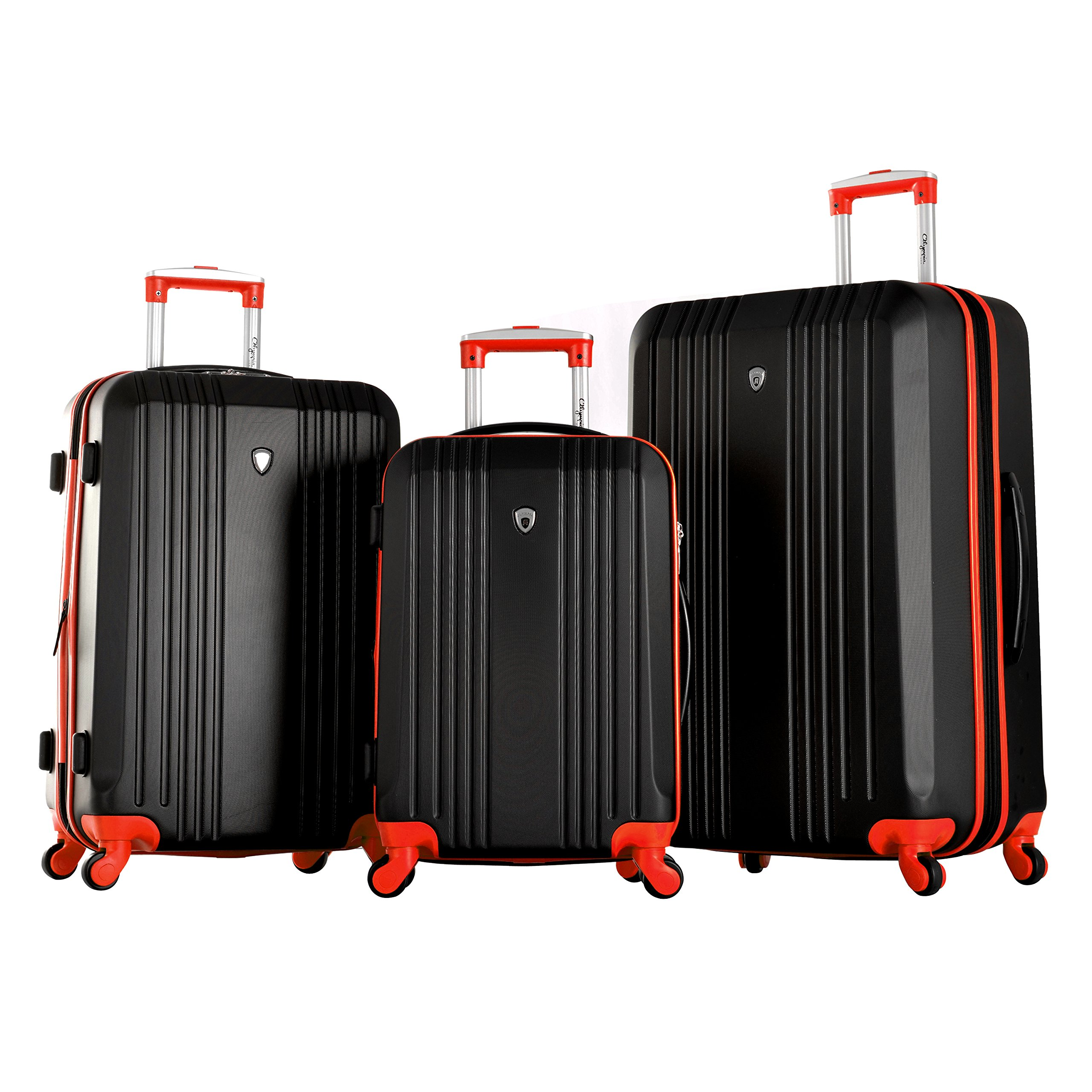 Olympia Apache 3pc Hardcase Spinner Luggage Set, Black/Red