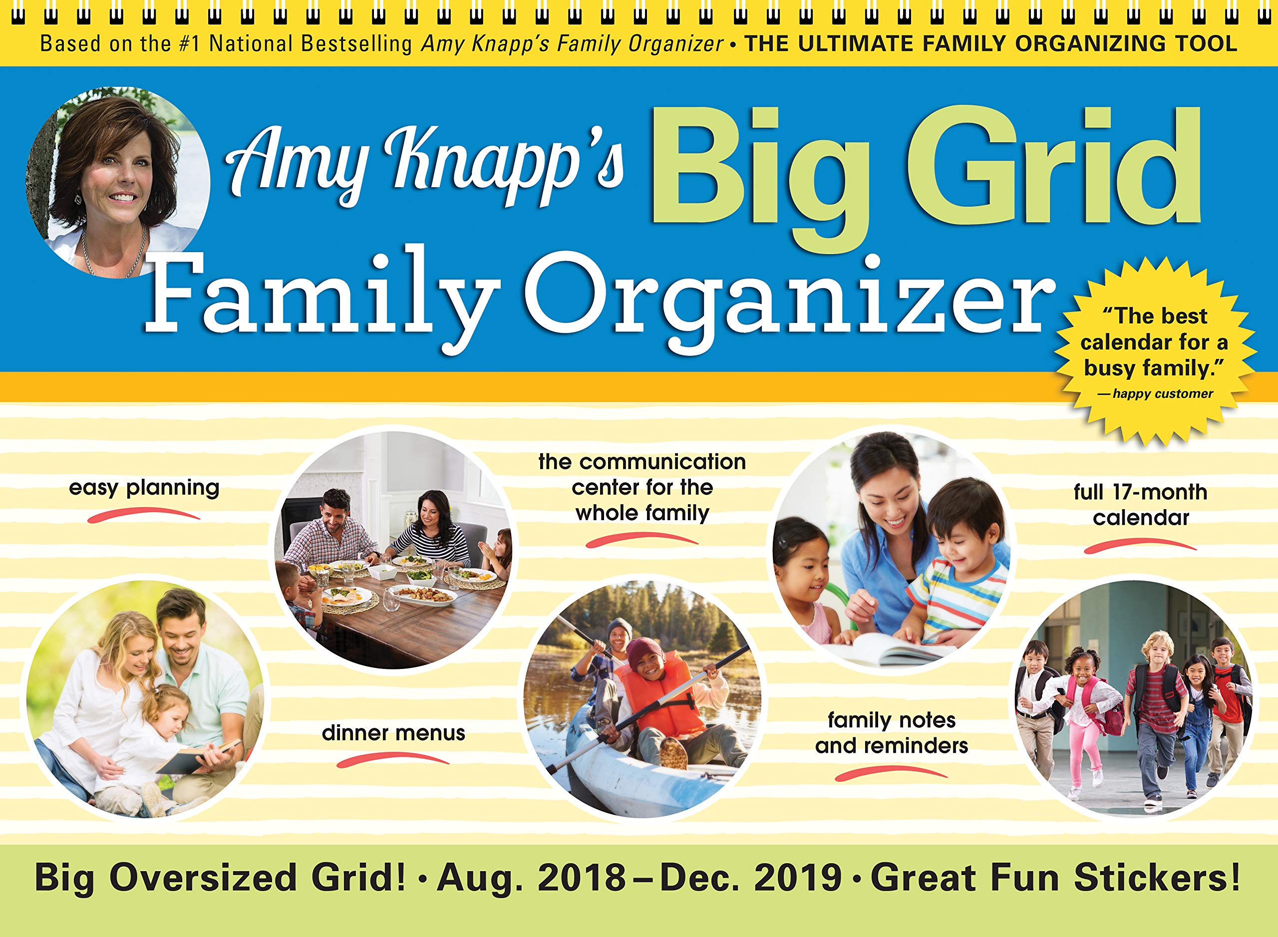 December 2019 Calendar Cust 2019 Amy Knapp's Big Grid Family Organizer Wall Calendar: August