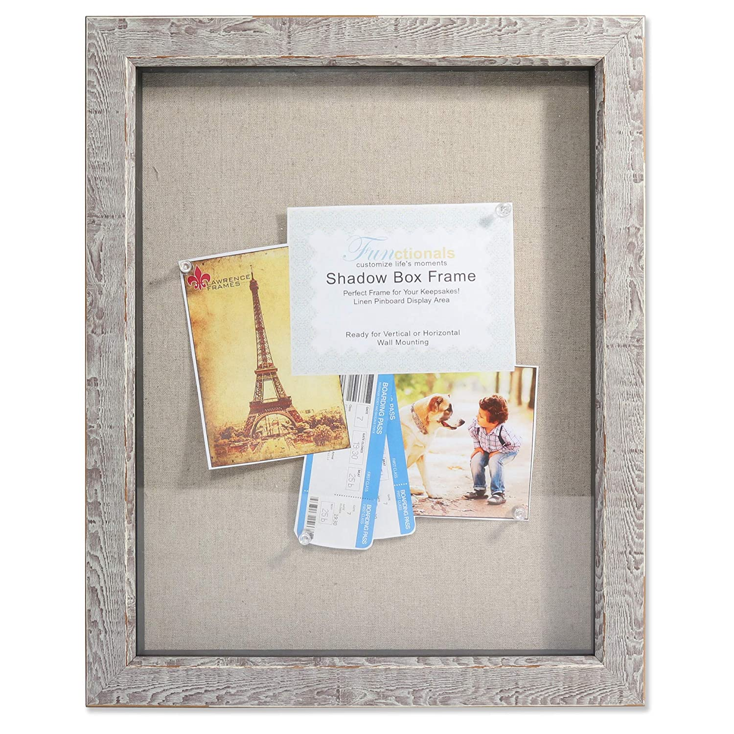 Lawrence Frames 11x14 Weathered Birch Linen Display Area Shadow Box, Brown 275411
